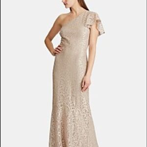 Ralph Lauren One Shoulder Lace Gown